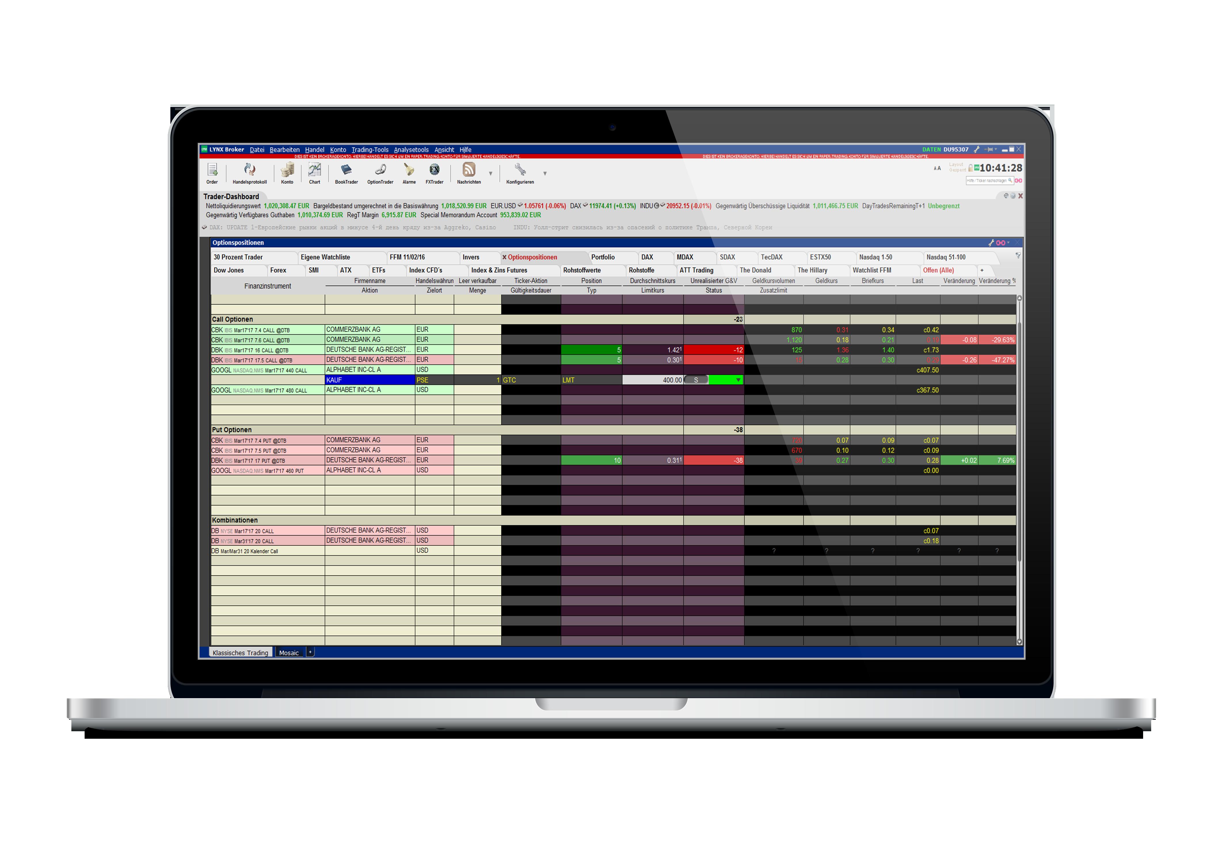 Macbook-TWS-Optionspositionen